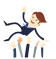 happy business man wearing suit threw in the air vector image vector image