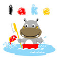hippo cartoon bath time with a little fish vector image vector image