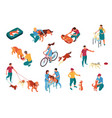 isometric dog sitter set vector image vector image