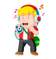 little boy listening to music and singing vector image vector image