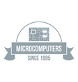 microcomputers logo simple gray style vector image vector image