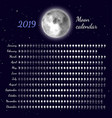 planner of lunar cycles at 2019 year vector image