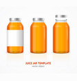 realistic juice glass jar bottle template set vector image