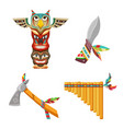 set cultural indian symbols or tribal objects vector image