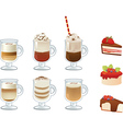 set of coffee drinks and cakes vector image vector image