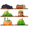 set of fairy house vector image