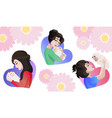 set of young asian mothers with baby in the hands vector image