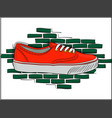 sneakers of coral color on lacing on the vector image vector image