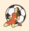 soccer player the winner action graphic vector image vector image