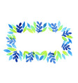 tropical blue fern and leaves wreath watercolor vector image vector image