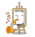 with trumpet easel mascot cartoon style vector image vector image