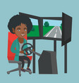 young african woman playing car racing video game vector image vector image