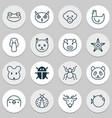 zoo icons set with sea star globefish monkey and vector image vector image