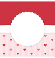 Red and pink stripped card template with hearts vector image