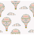 seamless pattern with hot air balloon and clouds vector image