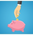 hand saving money in piggy bank vector image