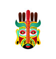 abstract mexican mask with red feather and green vector image