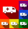 ambulance sign set icons vector image vector image