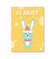 be merry image of rabbit on vector image