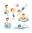 Boys play and swim in the pool vector image