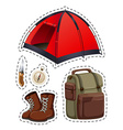 Camping set with tent and other objects vector image vector image