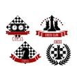 Chess game sport emblems and icons vector image vector image