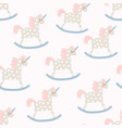 childish seamless pattern with cute horse toy vector image vector image