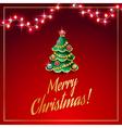 christmas garland red vector image