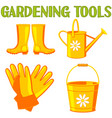 colorful cartoon garden watering 4 elements set vector image