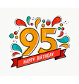 colorful happy birthday number 95 flat line design vector image vector image