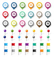 colorful location pin set isolated white vector image vector image