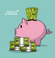 colorful poster with profit money box shape of pig vector image vector image