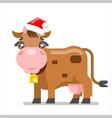 cow animal santa claus hat new year ox flat design vector image vector image