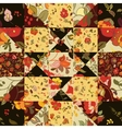 Creative seamless patchwork pattern with flowers vector image