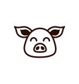 cute face pig animal cartoon icon thick line vector image