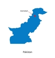 Detailed map of Pakistan and capital city vector image