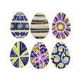 easter eggs set with hand-drawn traditional decor vector image vector image