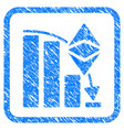 ethereum classic falling chart framed stamp vector image vector image