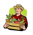 farmer with vegetables agriculture farm vector image vector image