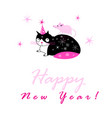 festive new year card with a cat and a mouse vector image vector image