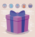 gift box present with commercial icons vector image vector image