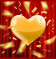 gold heart on a red background vector image vector image