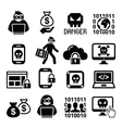 hacker cyber attack cyber crime icons set vector image vector image