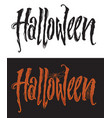 hand drawn halloween lettering with spiderweb vector image