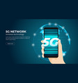 hand holding 5g smartphone fifth generation vector image vector image