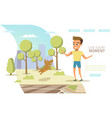 happy childhood in big city flat web banner vector image