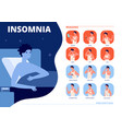 insomnia causes sleep problem anxiety nightmare vector image vector image