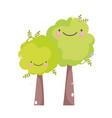 kawaii gardening cartoon happy trees characters vector image
