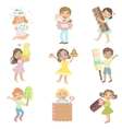 Kids With Giant Sweets Collection vector image vector image