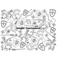 Knight Tournament colorless set vector image vector image